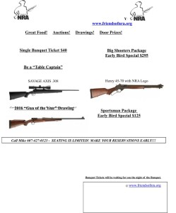 Colonel Gadsden Friends of NRA: Annual Fund Raising Banquet and Auction